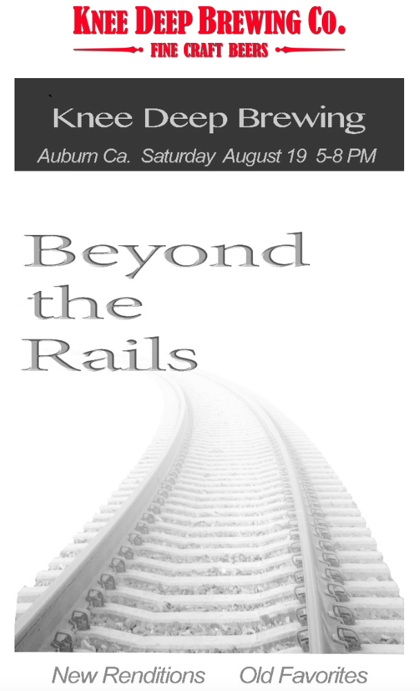 Enjoy some pizza & brew with some music by Beyond the Rails at Knee Deep Brewing! Sat.Aug.19th 5-8pm